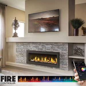 Electric fireplace with controller app